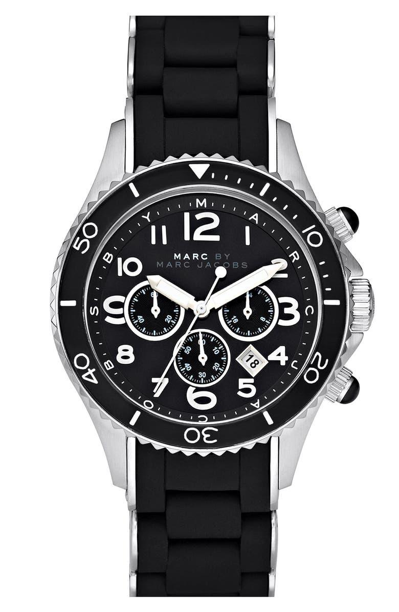 MARC JACOBS 'Rock' Chronograph Silicone Bracelet Watch, 40mm, Main, color, 001