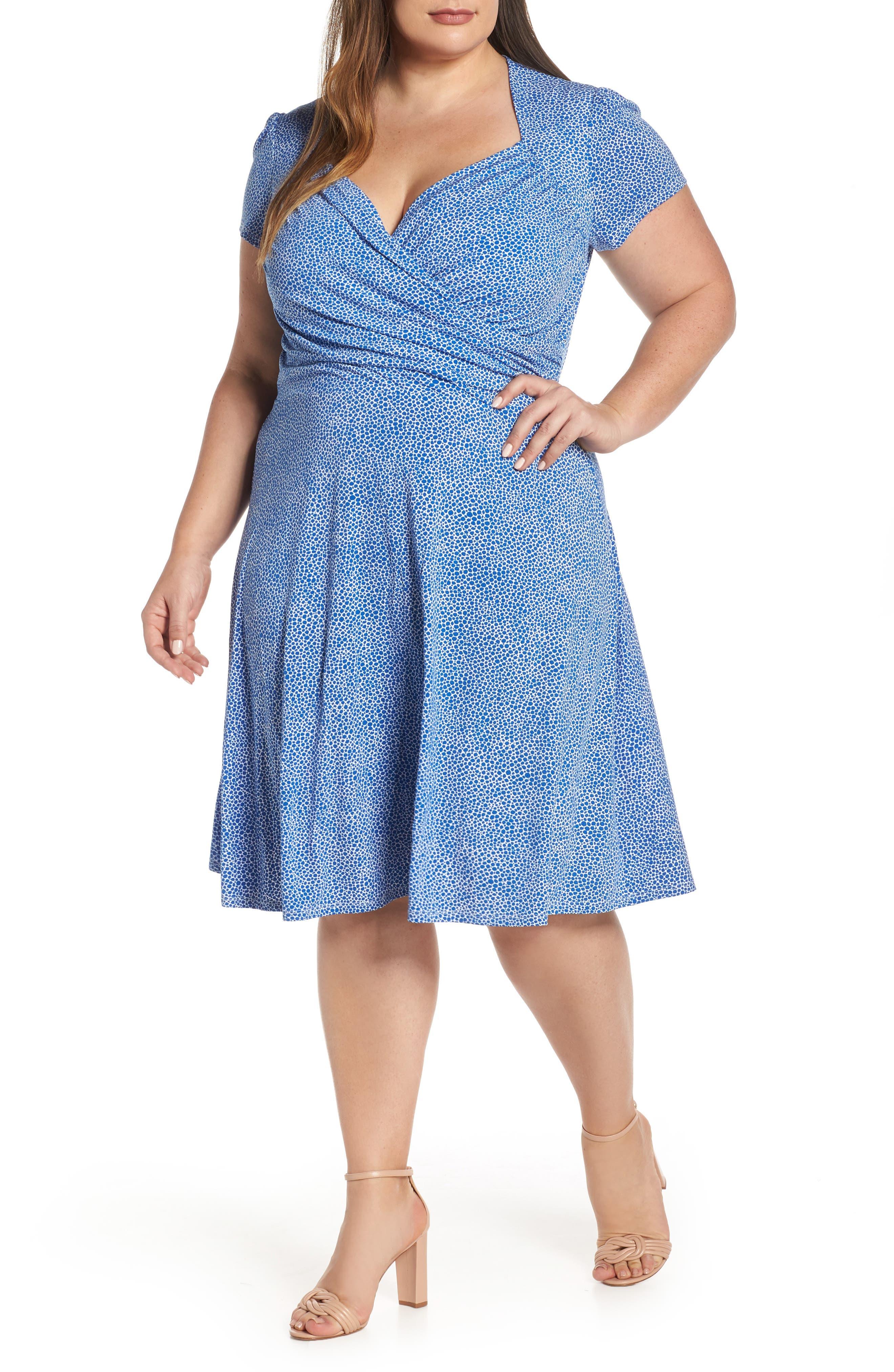 Faux Wrap Jersey Dress, Main, color, NEBULAS BLUE