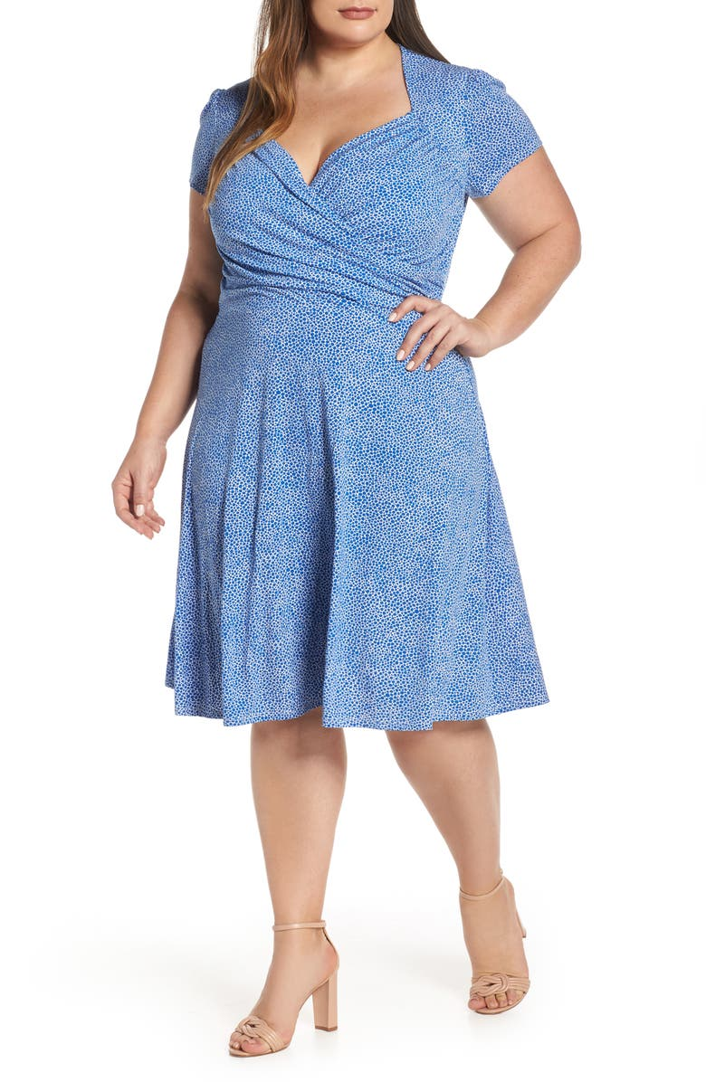 LEOTA Faux Wrap Jersey Dress, Main, color, NEBULAS BLUE