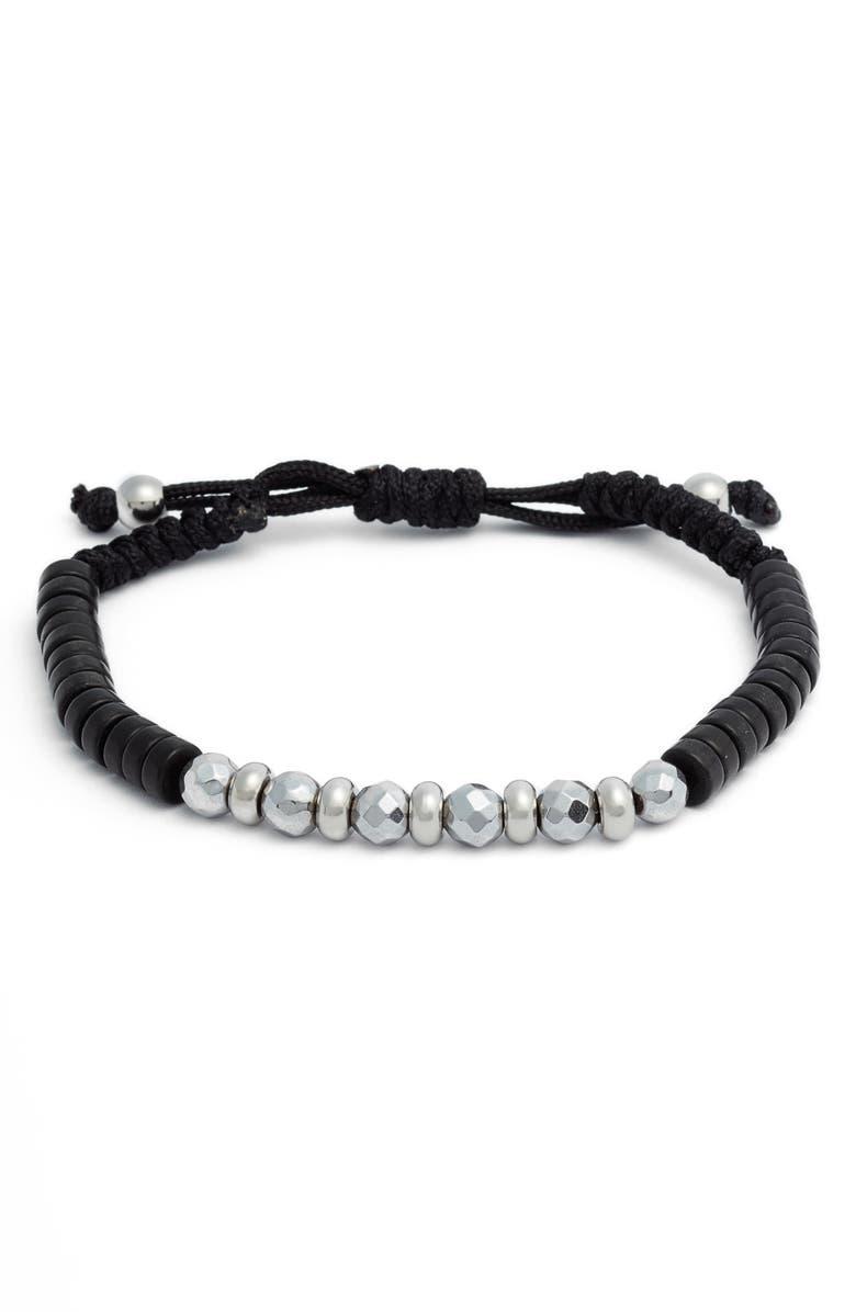DEGS & SAL Pulley Bead Bracelet, Main, color, BLACK