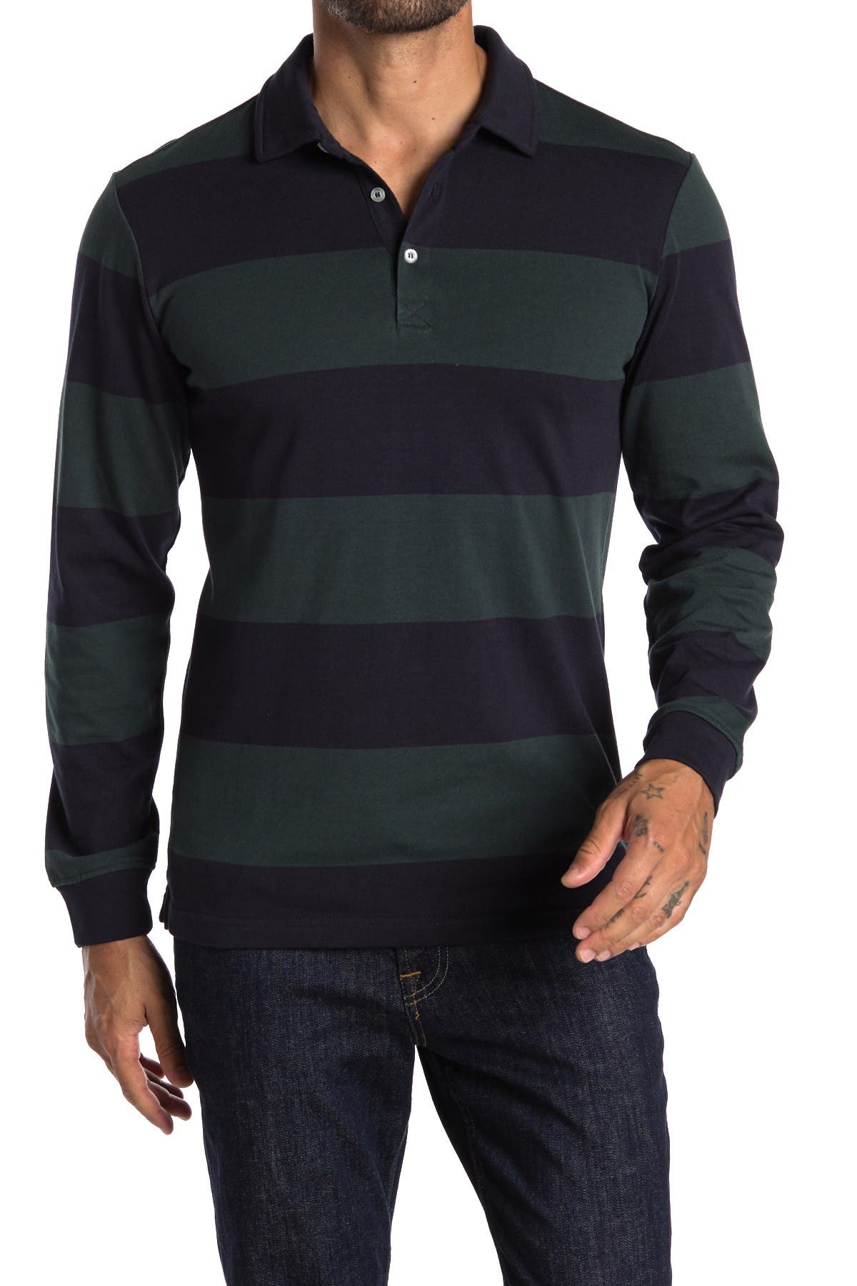 Image of Slate & Stone Rugby Stripe Long Sleeve Polo