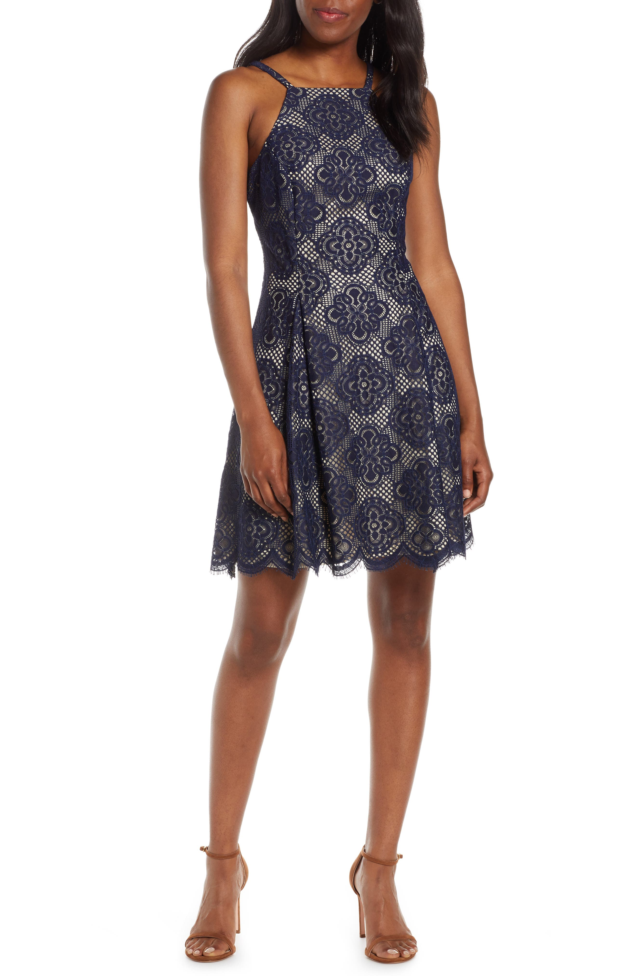 Vince Camuto Lace Fit & Flare Dress, Blue