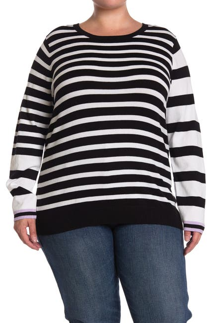 Image of One A Mixed Stripe Crew Neck Long Sleeve Top