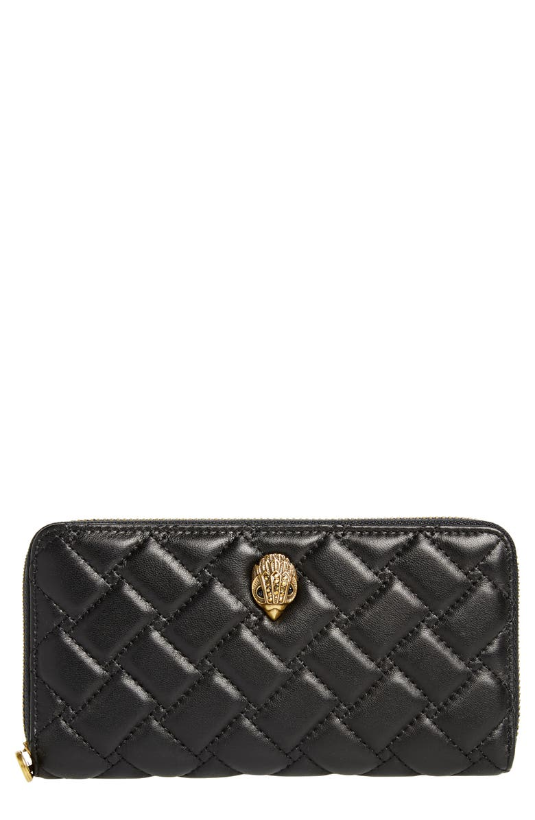 KURT GEIGER LONDON Eagle Leather Zip Around Wallet, Main, color, BLACK