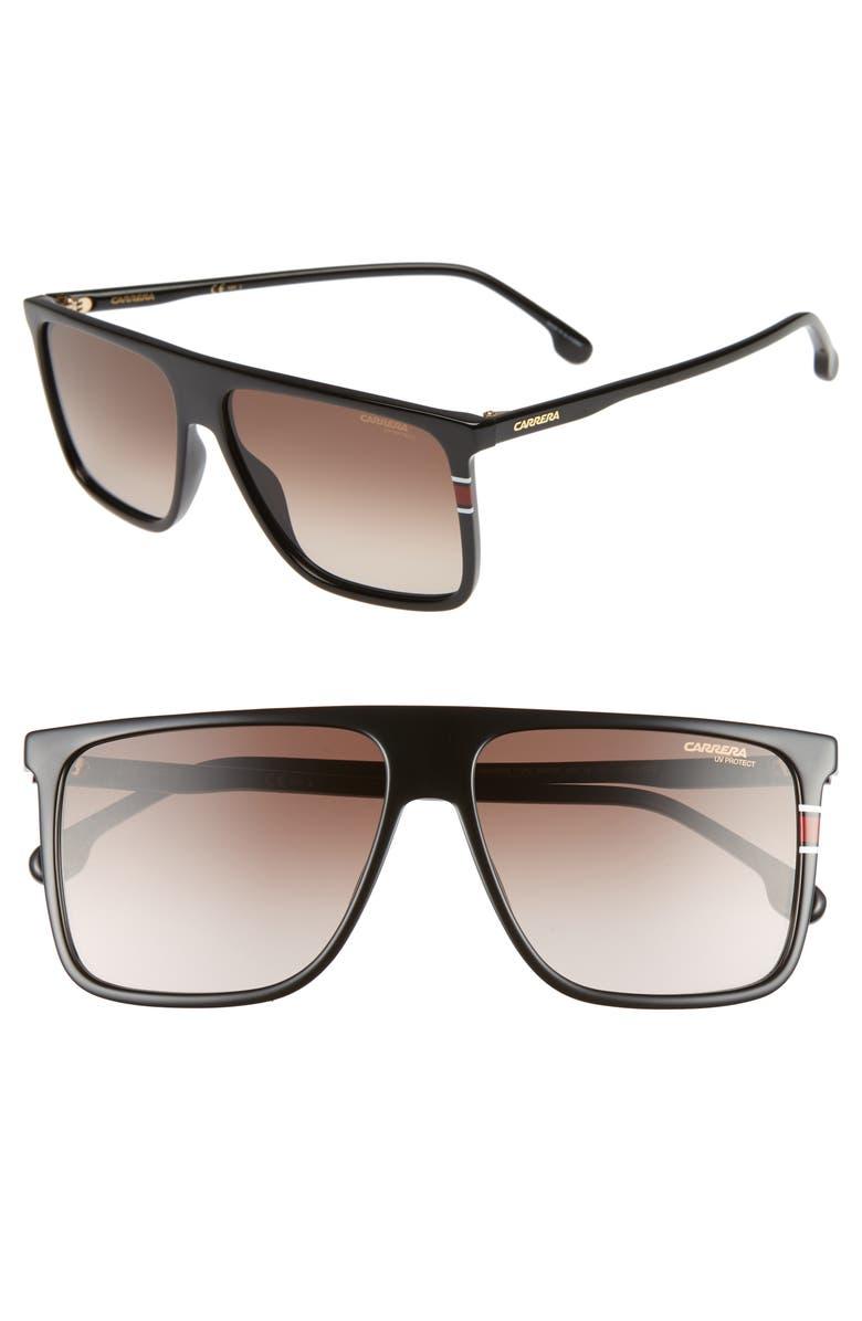 CARRERA EYEWEAR 145mm Flat Top Sunglasses, Main, color, BLACK