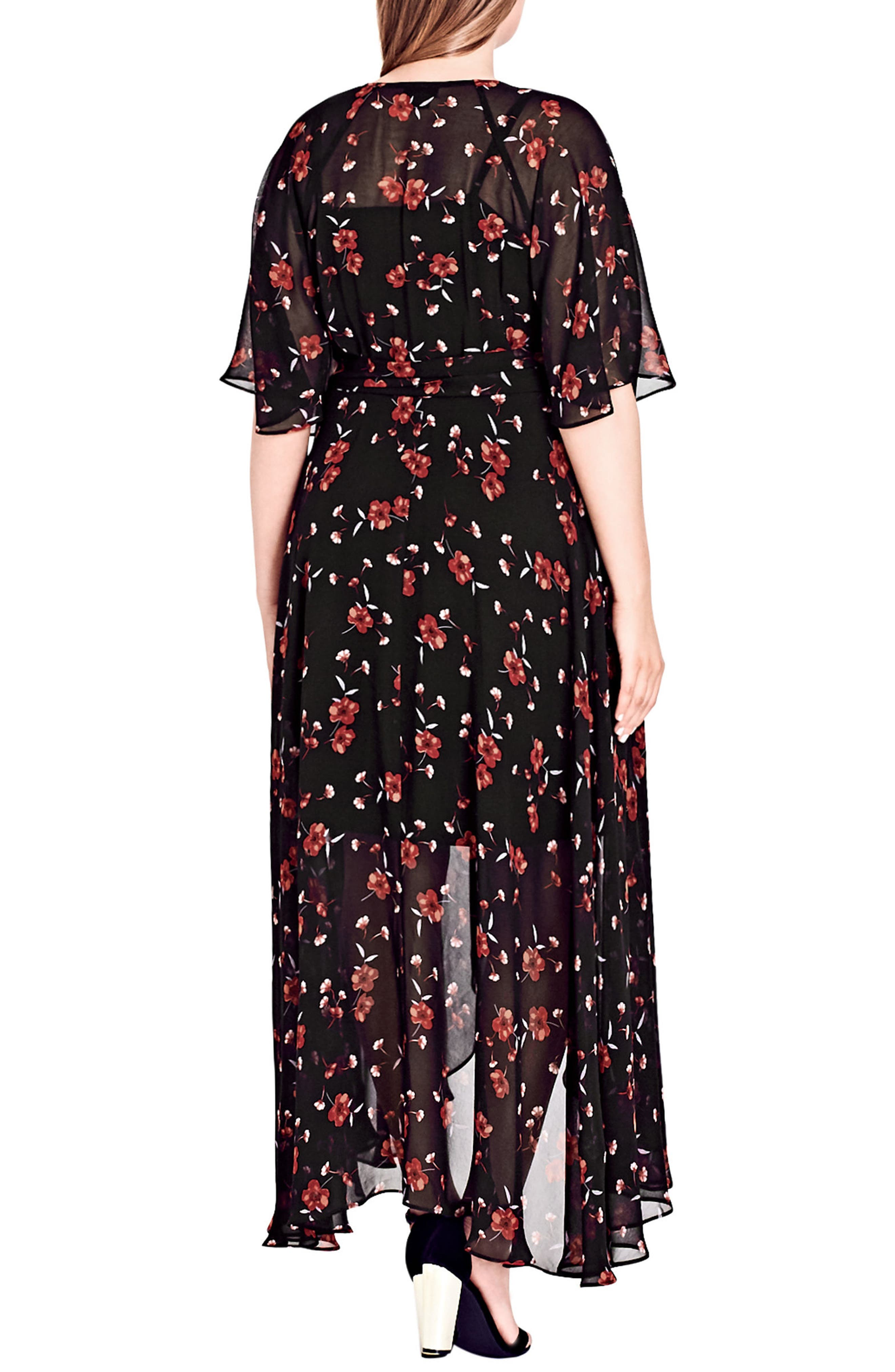 ,                             Fall in Love Floral Maxi Dress,                             Alternate thumbnail 2, color,                             BLACK