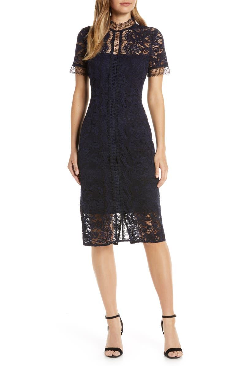 ELIZA J Sleeveless Lace Sheath Dress, Main, color, NAVY