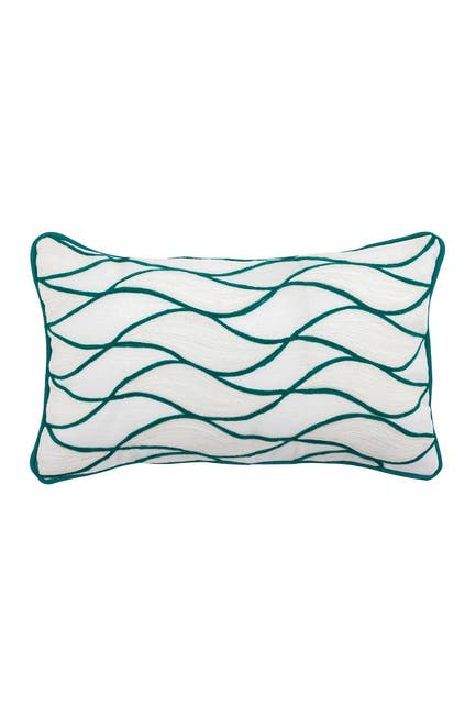 """Image of DIVINE HOME Embroidered Curves Outdoor Pillow - 12"""" x 20"""" - Aqua"""