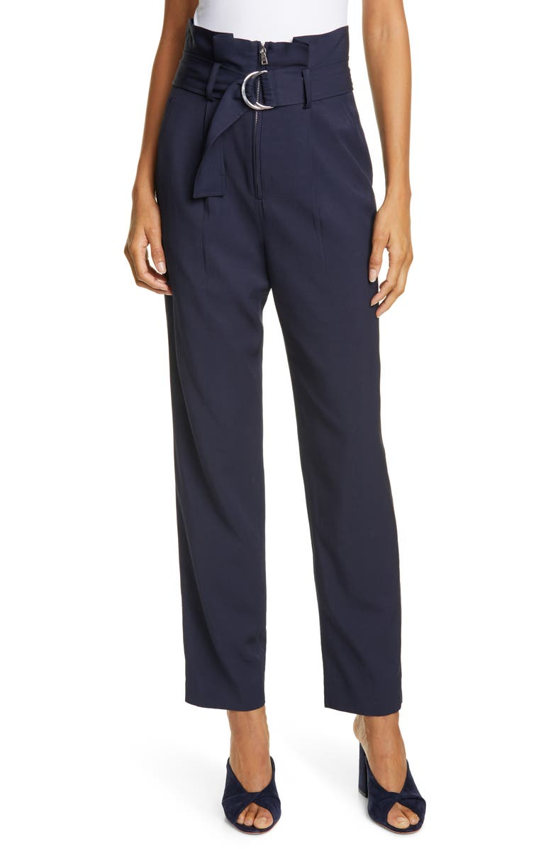 JONATHAN SIMKHAI Pleated Waist Luxe Twill Pants, Main, color, MIDNIGHT