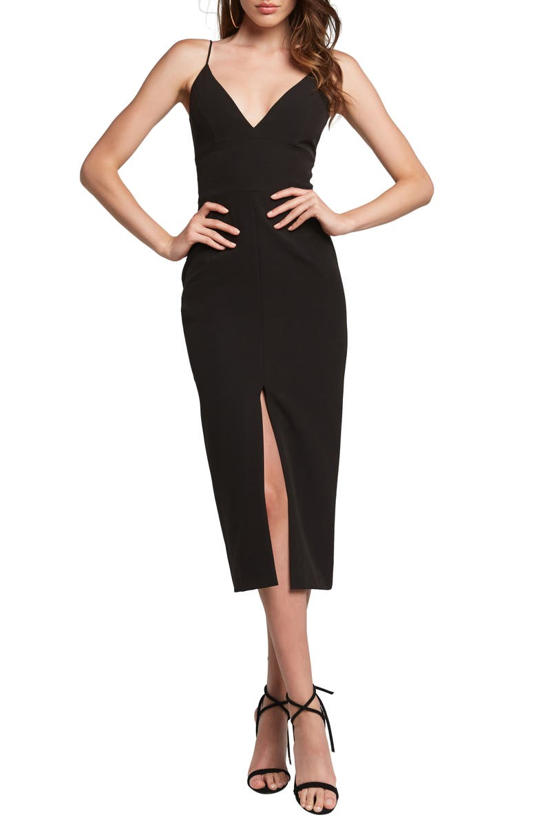 BARDOT Diana Midi Dress, Main, color, BLACK