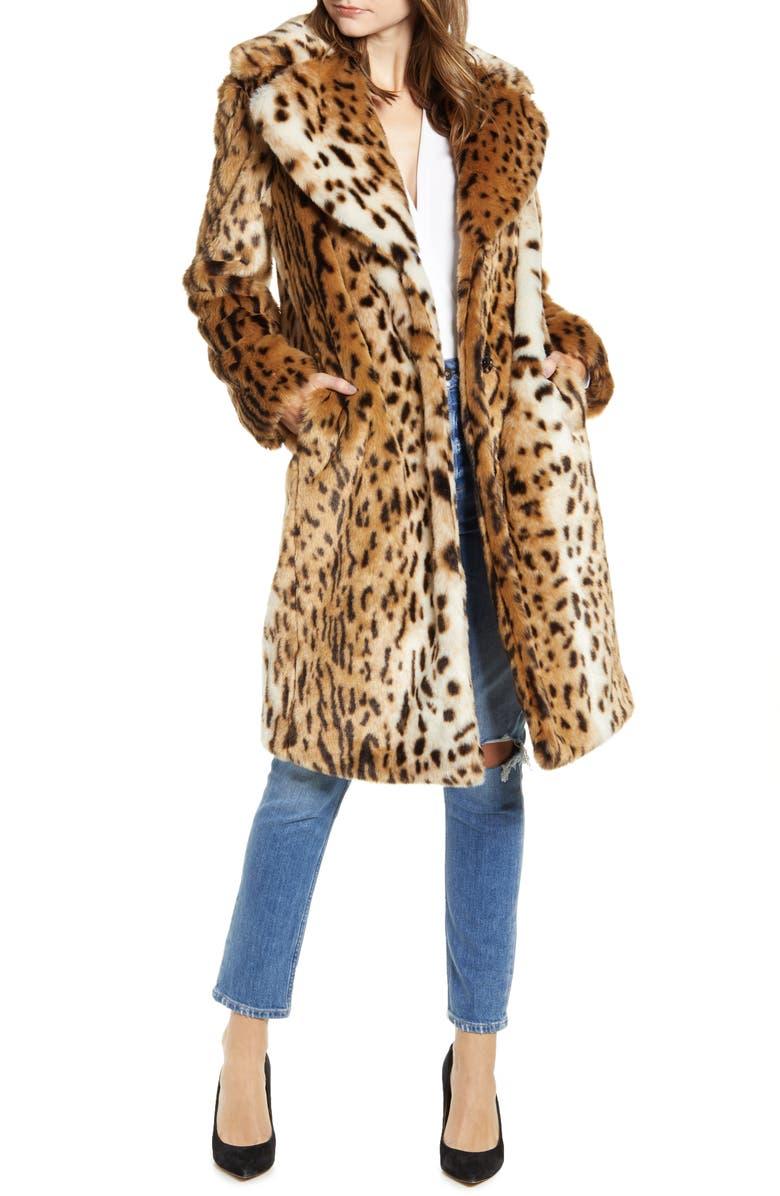 KENDALL + KYLIE Leopard Faux Fur Coat, Main, color, LEOPARD