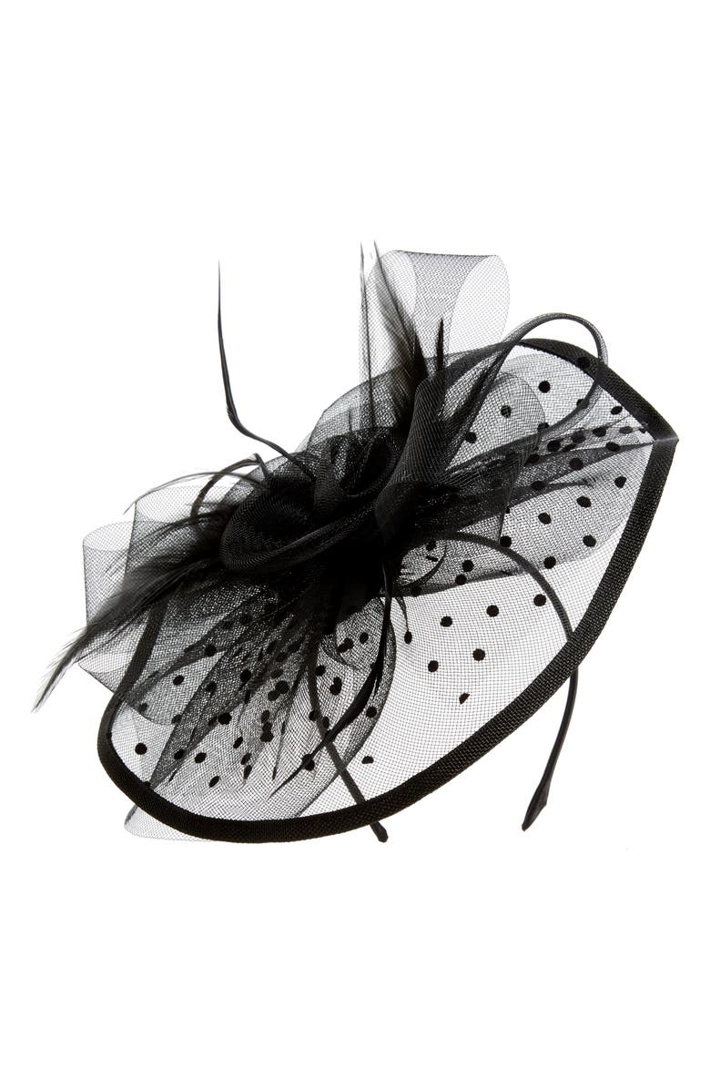 TASHA Dots Feather Fascinator, Main, color, BLACK