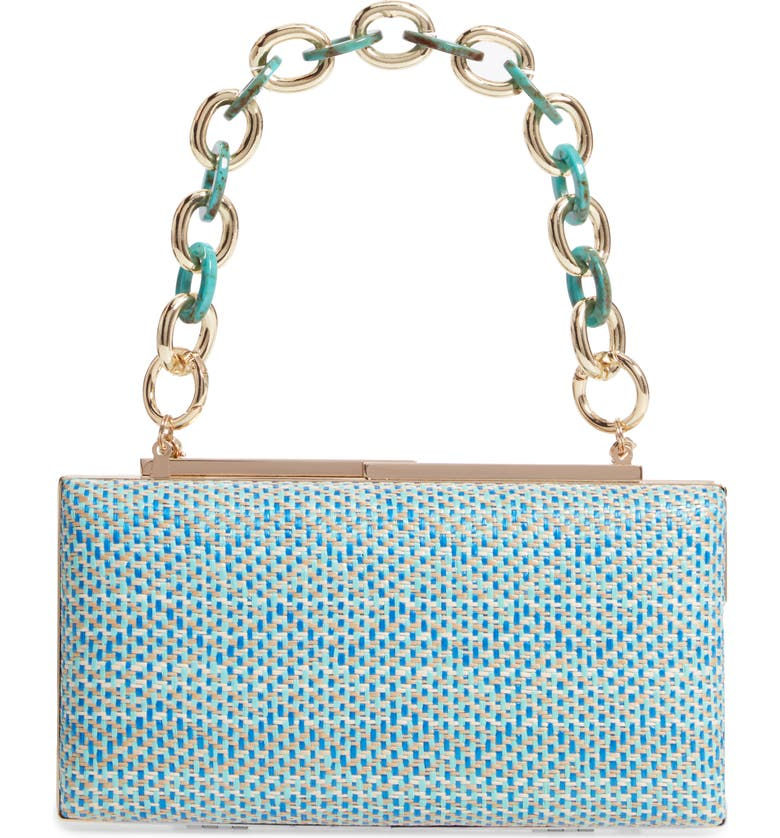 NORDSTROM Woven Minaudiére, Main, color, TEAL TURQUOISE