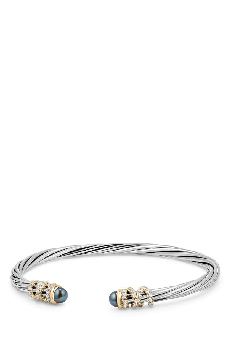 DAVID YURMAN Helena End Station Bracelet with Pearls & Diamonds, 4mm, Main, color, GREY PEARL