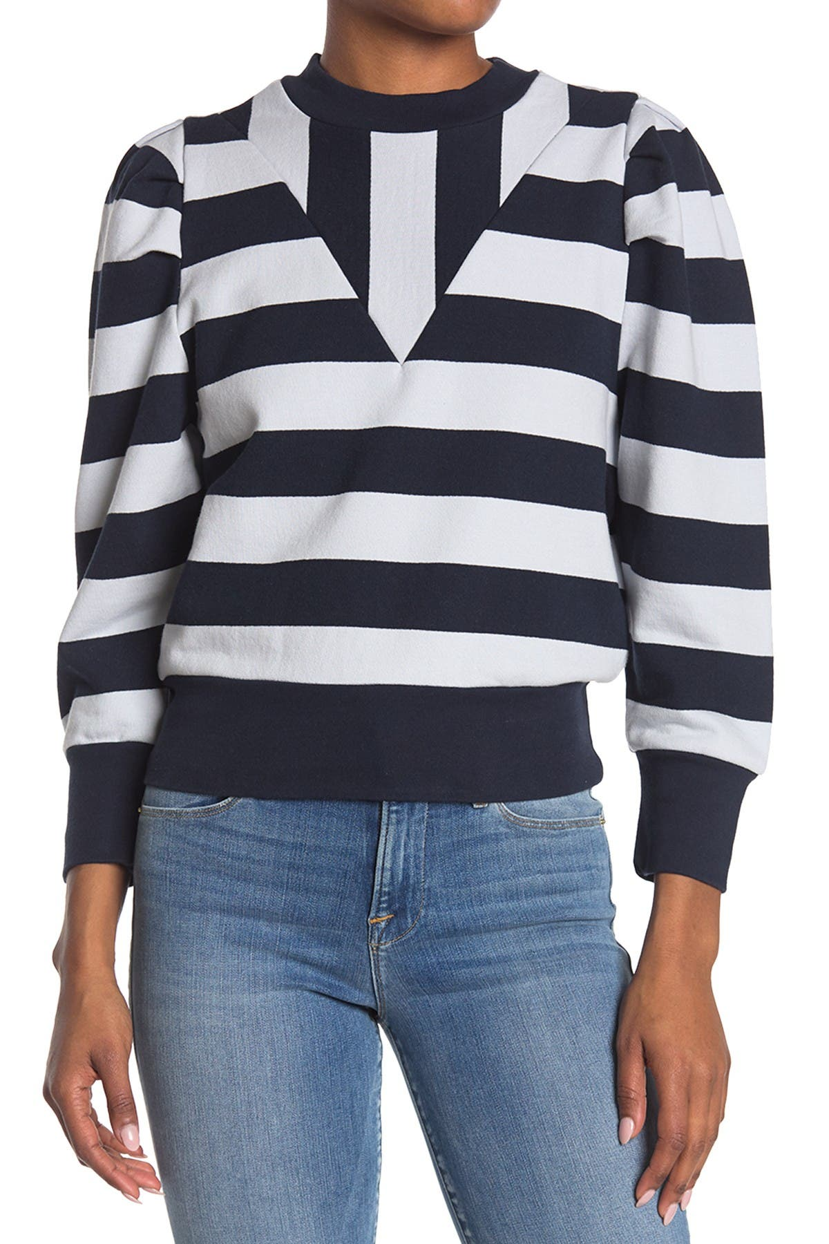 Image of FRAME Rugby Stripe Print Shirred Sweatshirt