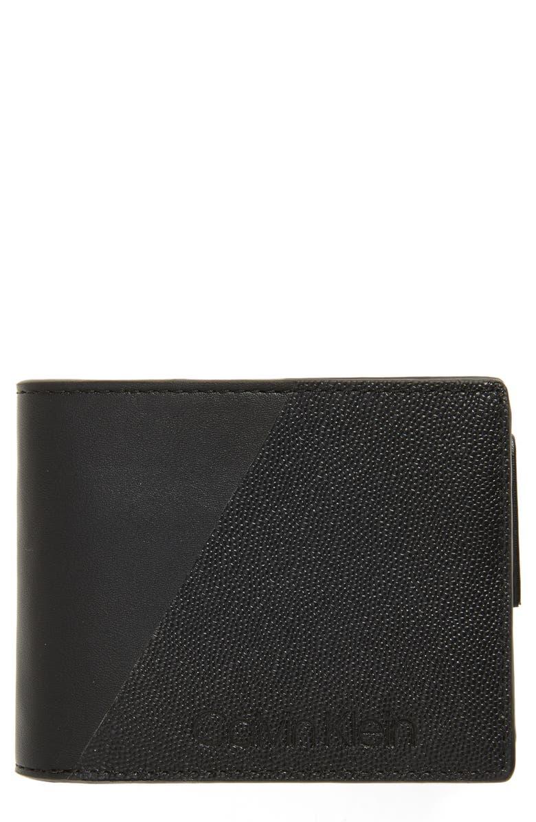 CALVIN KLEIN Faux Leather Wallet, Main, color, BLACK