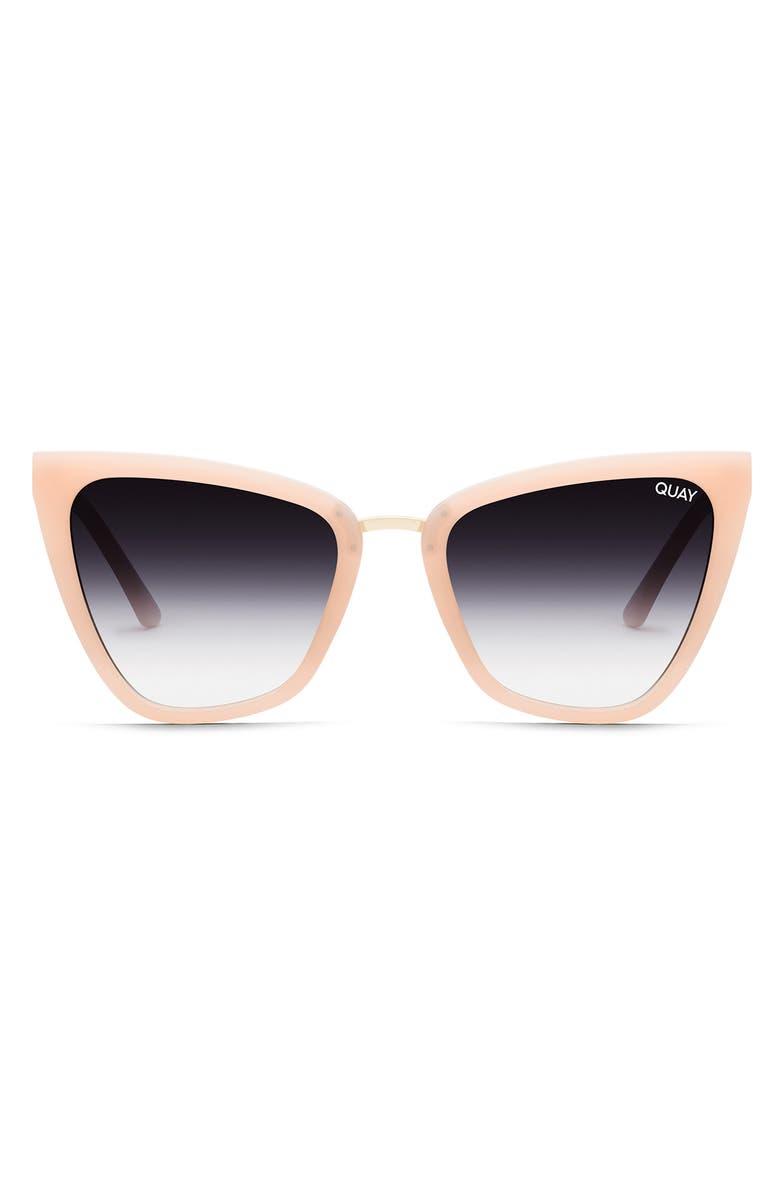 QUAY AUSTRALIA Reina 51mm Gradient Cat Eye Sunglasses, Main, color, BLUSH/ BLACK FADE