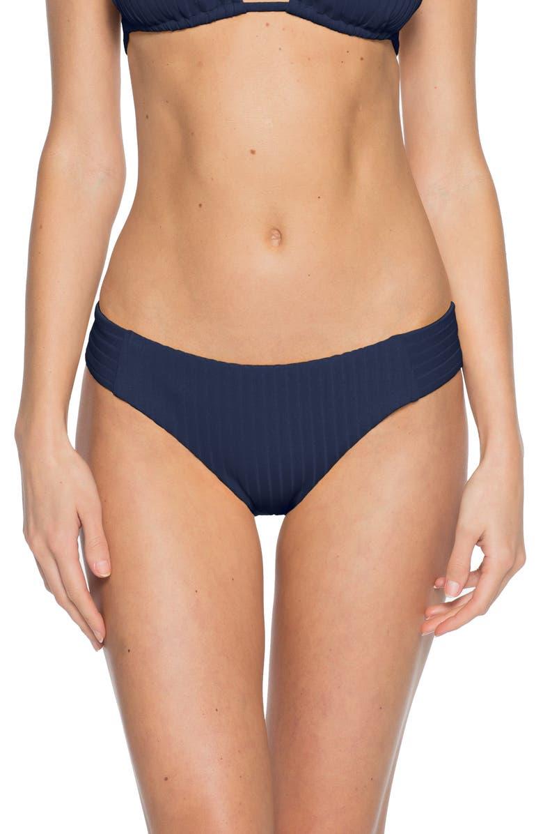BECCA Loreto Ribbed Bikini Bottoms, Main, color, NAVY