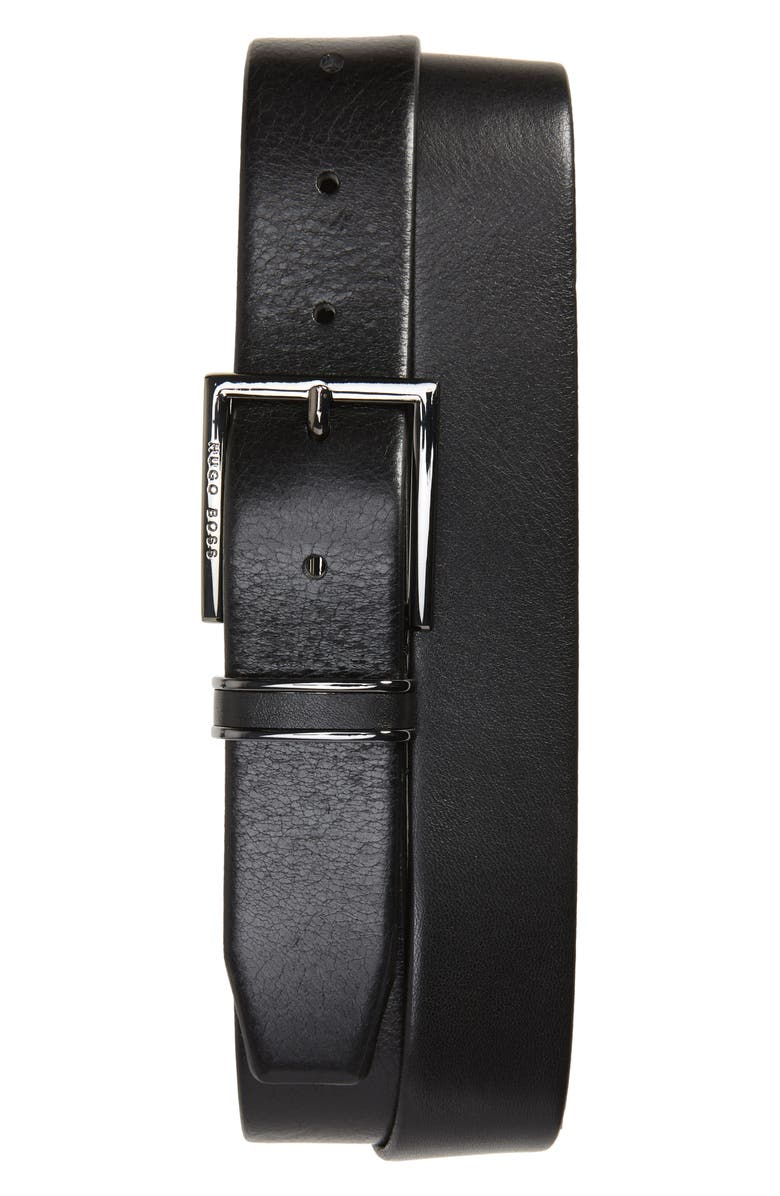 BOSS Canzion Leather Belt, Main, color, BLACK