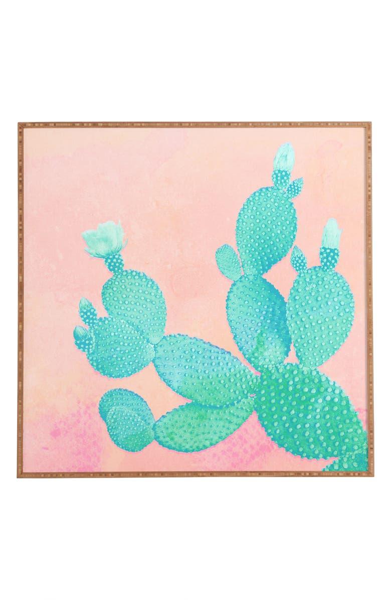 DENY DESIGNS Pastel Cactus Framed Wall Art, Main, color, PINK