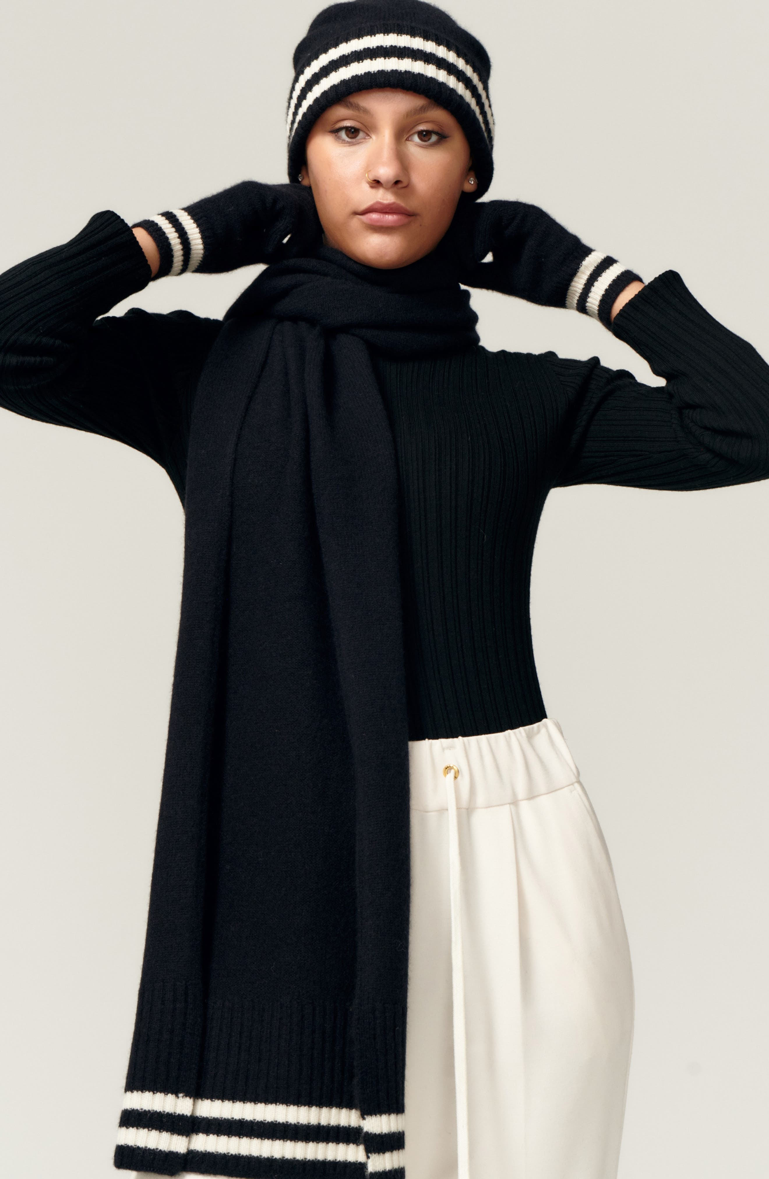 Sport Stripe Recycled Cashmere Ribbed Scarf