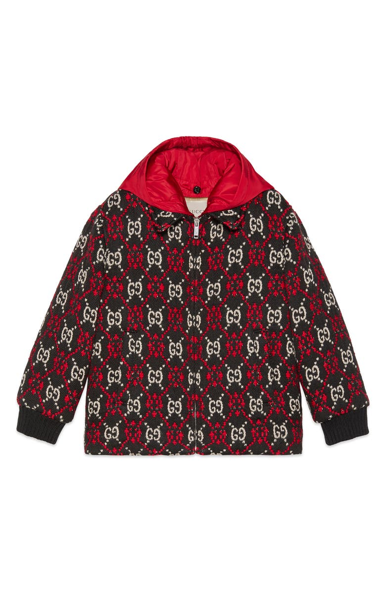GUCCI Logo Jacquard Hooded Bomber Jacket, Main, color, BLACK/ BEIGE/ RED
