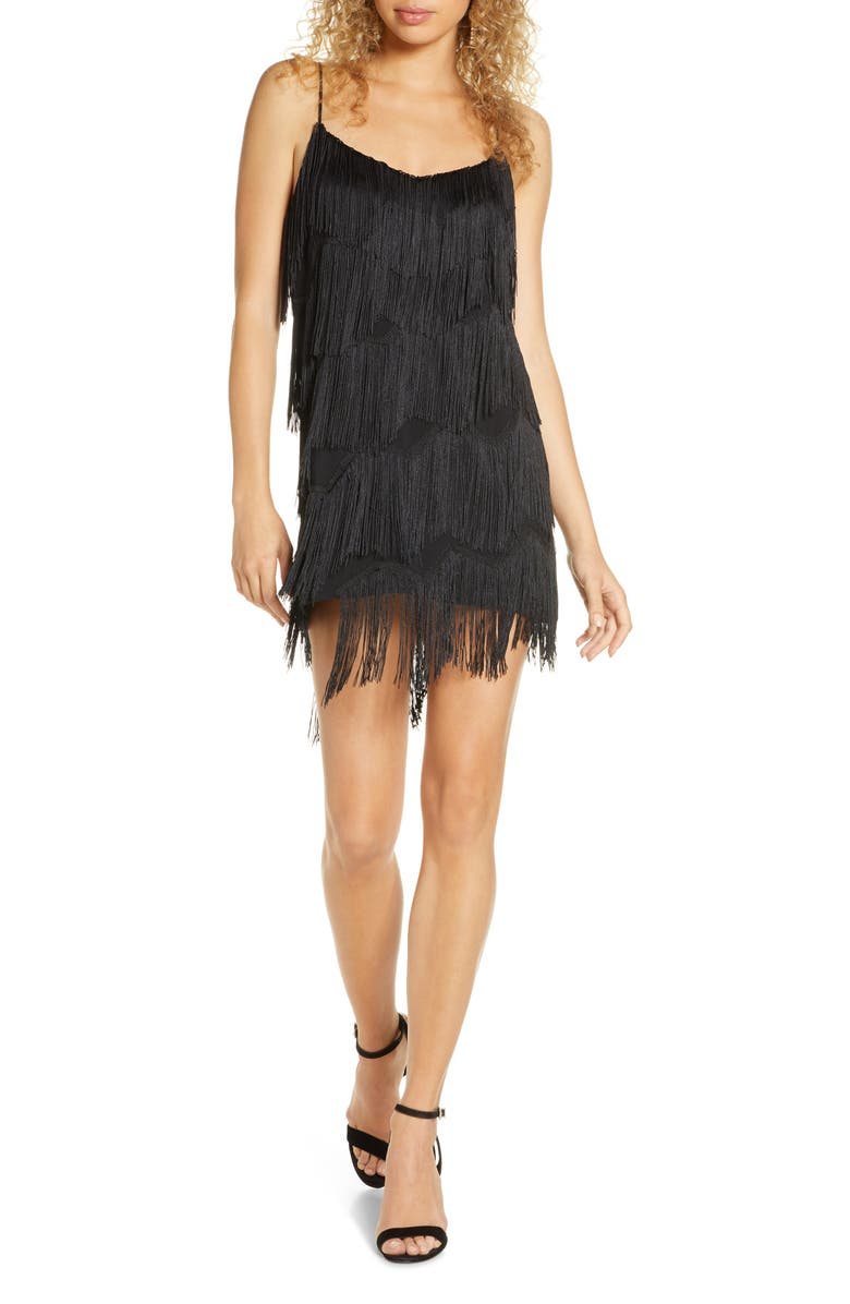 FINDERS KEEPERS Ana Fringe Minidress, Main, color, BLACK