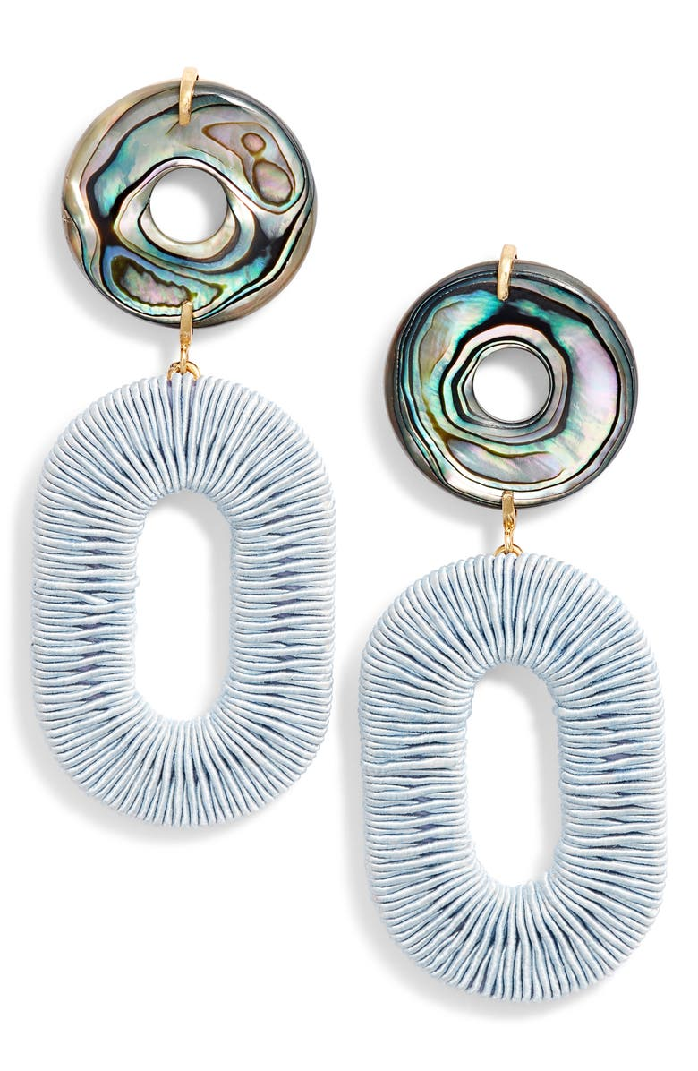 LIZZIE FORTUNATO Adriatic Earrings, Main, color, PALE BLUE/ ABALONE/ GOLD