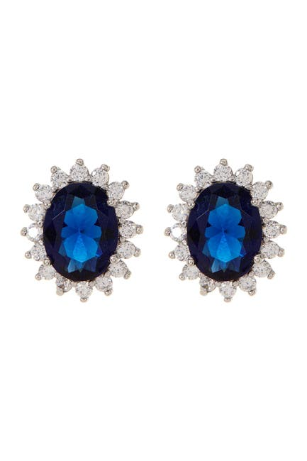 Image of Sterling Forever Sterling Silver Simulated Sapphire Blue CZ Earrings