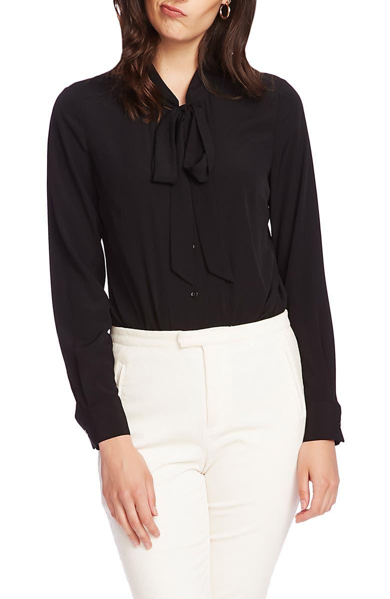 COURT & ROWE Tie Neck Long Sleeve Top, Main, color, RICH BLACK