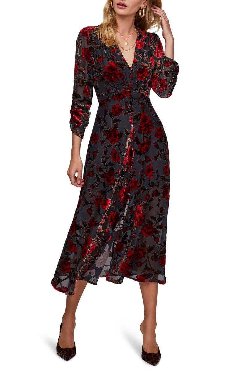 ASTR THE LABEL Jalisca Floral Velvet Burnout Midi Dress, Main, color, RED VELVET FLORAL