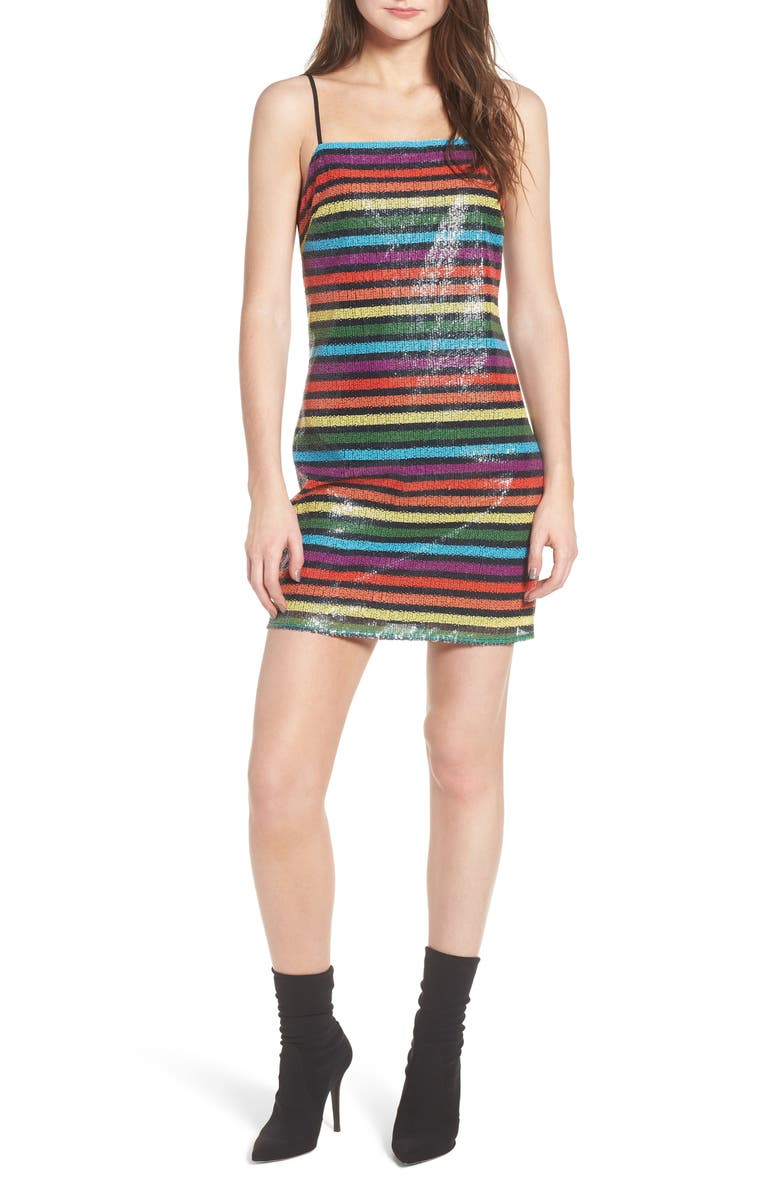 WAYF Lille Rainbow Stripe Sequin Minidress, Main, color, 600