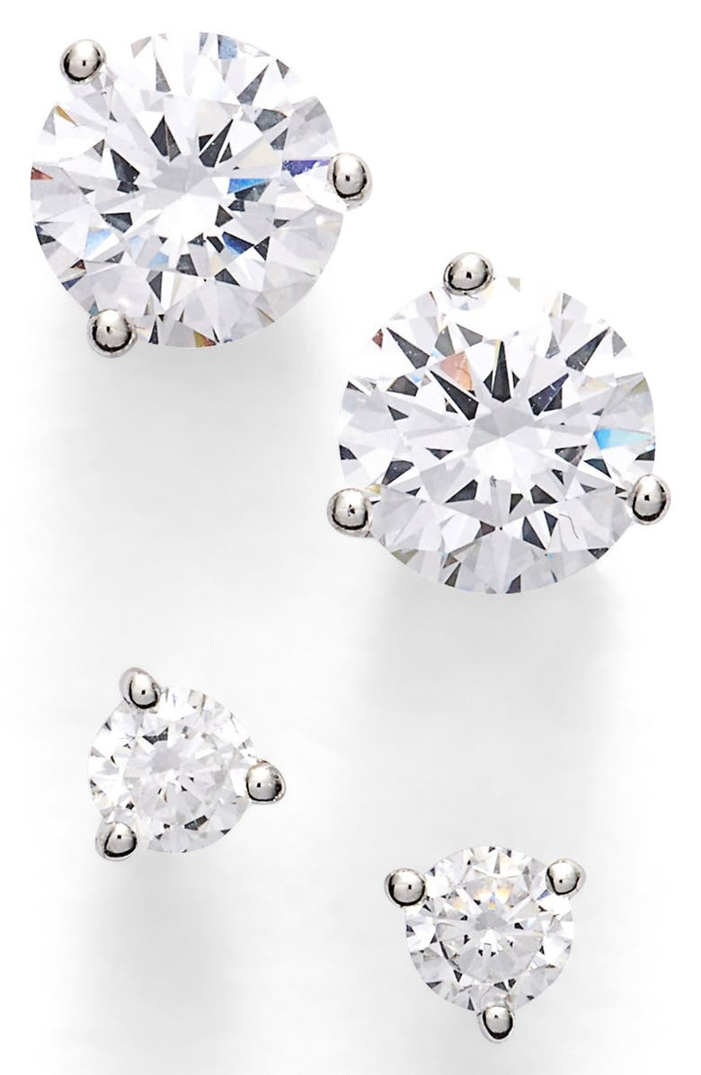 NORDSTROM Precious Metal Plated 0.50ct tw and 2ct tw Cubic Zirconia Stud Earrings, Main, color, 040