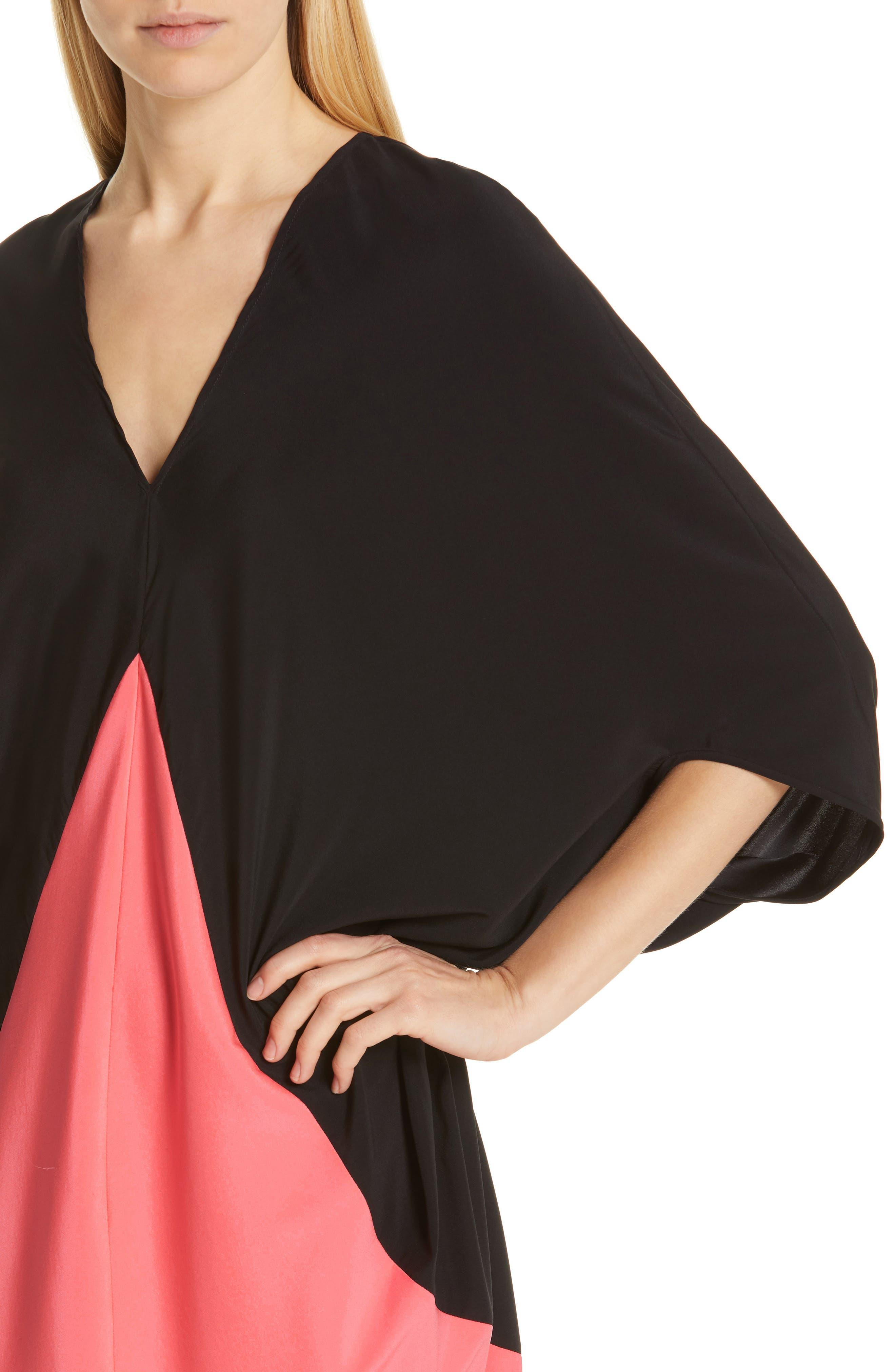,                             Koya Colorblock Stretch Silk Dress,                             Alternate thumbnail 5, color,                             BLACK/ NEON ROSE