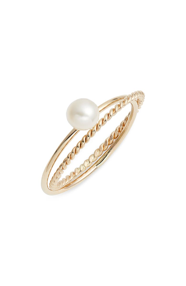 POPPY FINCH Skinny Pearl Crisscross Ring, Main, color, YELLOW GOLD/ PEARL