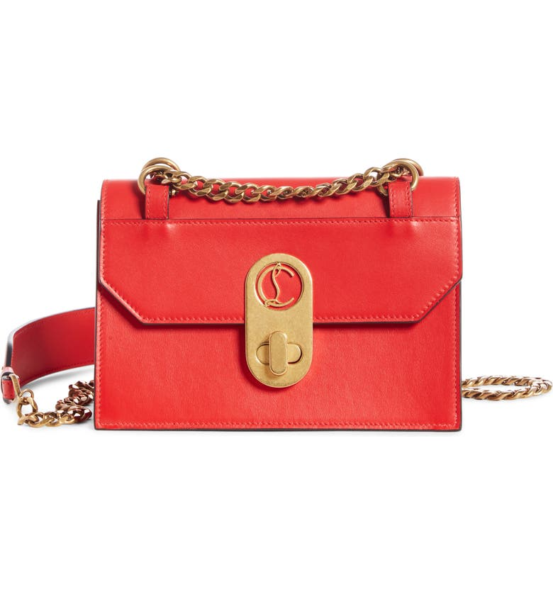 CHRISTIAN LOUBOUTIN Mini Elisa Calfskin Leather Shoulder Bag, Main, color, LOUBI