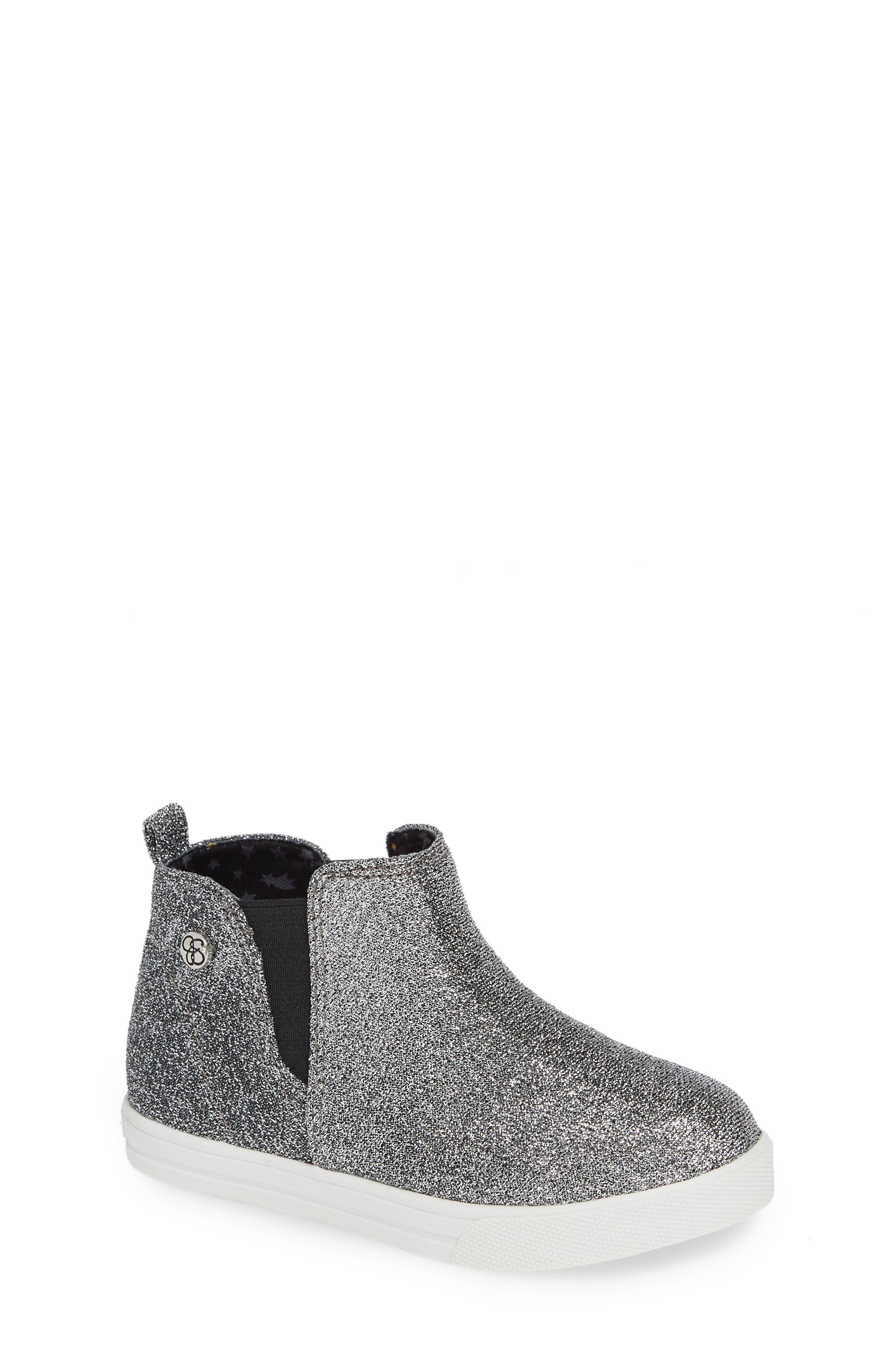 ,                             Glitter Sneaker Bootie,                             Main thumbnail 1, color,                             PEWTER STRETCH LAME