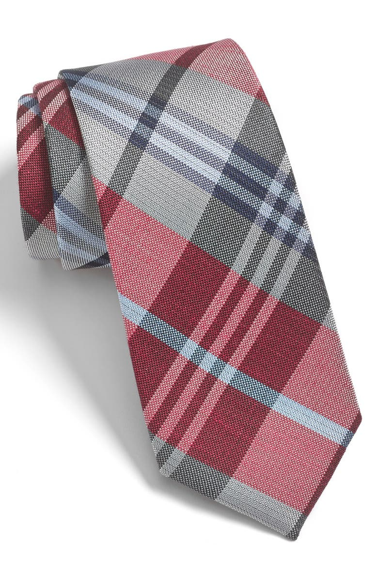 THE TIE BAR Crystal Wave Silk & Linen Plaid Tie, Main, color, RED/ SILVER