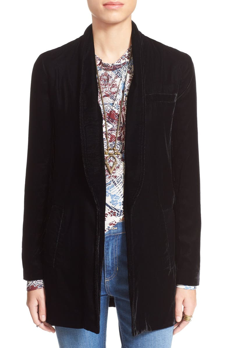 FREE PEOPLE Slouchy Velvet Blazer, Main, color, 001