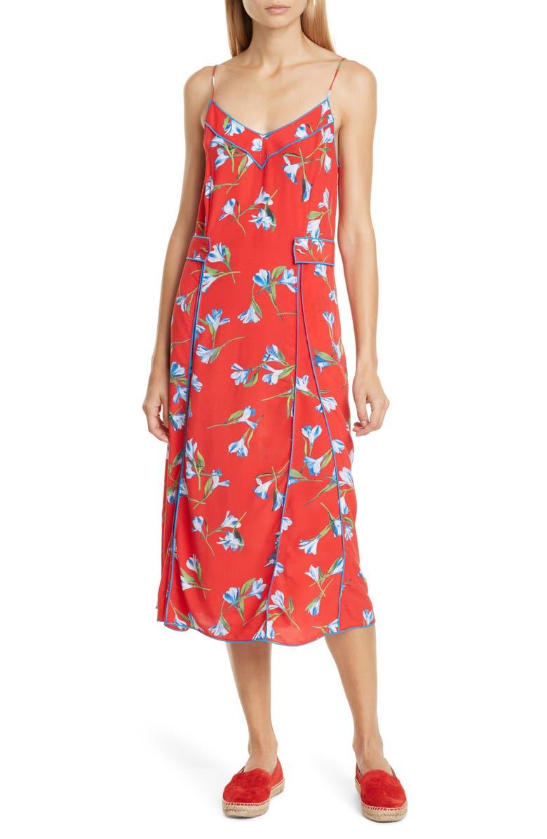 RAG & BONE Hugo Piped Floral Midi Dress, Main, color, REDFLR