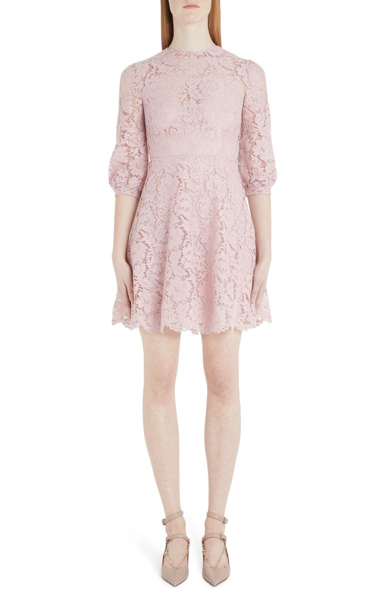 VALENTINO Scalloped Lace A-Line Minidress, Main, color, C57-PINK