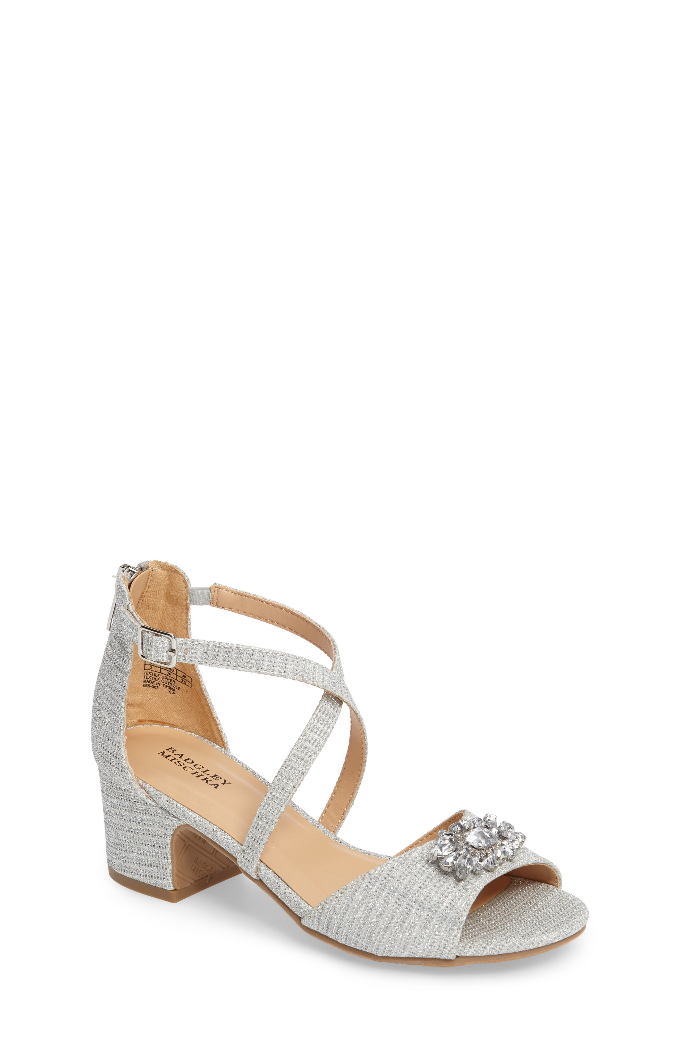 ,                             Badgley Mischka Pernia Gems Sandal,                             Main thumbnail 1, color,                             WHITE
