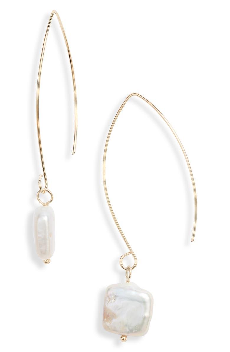 TEN79LA Natural Pearl Hanger Earrings, Main, color, 710