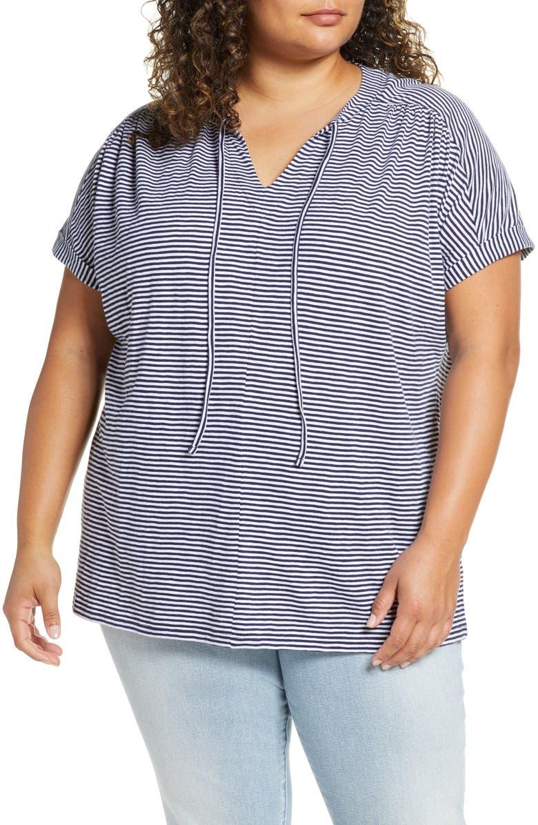 CASLON<SUP>®</SUP> Split Neck Cotton Top, Main, color, NAVY P WHITE EVEN STRIPE