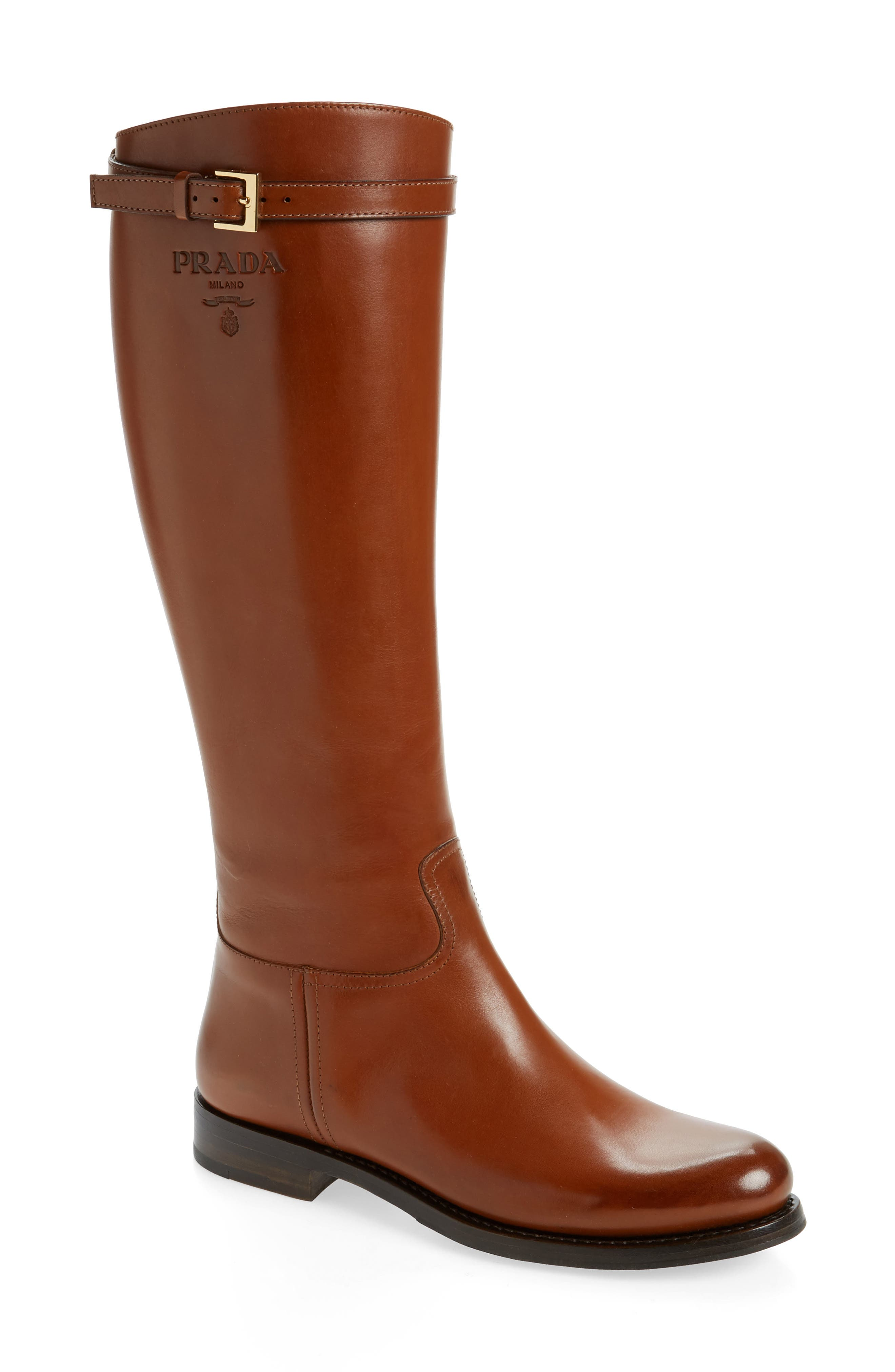 A sleek riding boot in supple leather features logo embossing and a trim belt at the topline. Style Name: Prada Knee High Riding Boot (Women). Style Number: 6002158. Available in stores.