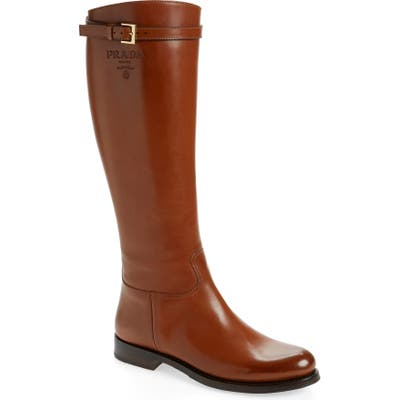 Prada Novo Knee High Boot, Brown