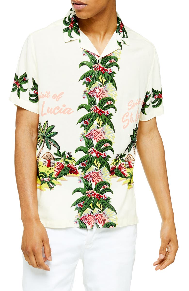 TOPMAN Regular Fit Tropical Sequin Short Sleeve Button-Up Camp Shirt, Main, color, WHITE MULTI