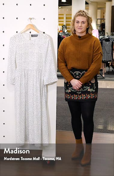 Polka Dot Smocked Bodice Midi Dress, sales video thumbnail