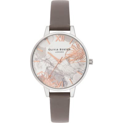 Olivia Burton Abstract Floral Leather Strap Watch,