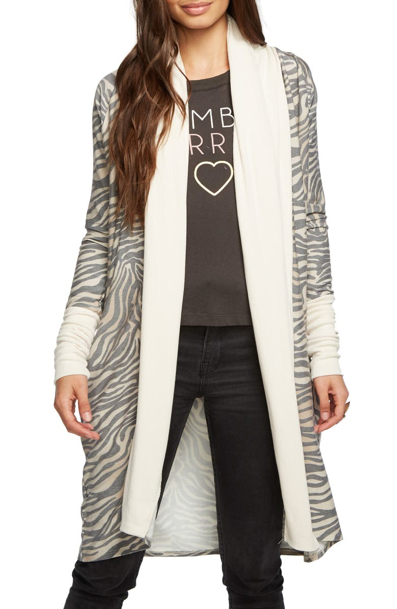 CHASER Cozy Knit Duster Cardigan, Main, color, ZEBRA